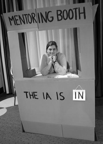 photo: Samantha Bailey at IA Summit Mentoring Booth